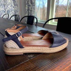 Lucky Brand Blue Leather Crochet Espadrille Sandal